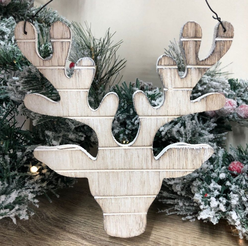 Natural Wood Reindeer Hanging Christmas Decoration